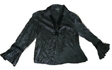 "pre-loved ""Katies"" black silky button up collared shirt with lace up neck sz 14"