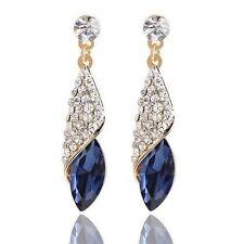 Gold Plated Blue Earring Women Geometric Crystal Tear Drop Long Earrings Charm