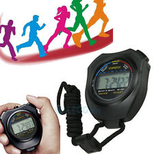Black Handheld Digital LCD Chronograph Sports Stopwatch Counter Timer with Strap