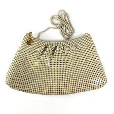 "Vintage Mesh Handbag Purse Beige Long Snake Chain Strap Satin Lining 9.5"" X 6"""