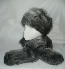 Pillbox hat and matching neck wrap SILVERY GREY FAUX FUR QUALITY FAILSWORTH