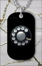 ROTARY DIAL VINTAGE PHONE DOG TAG NECKLACE PENDANT FREE CHAIN -kgb7Z