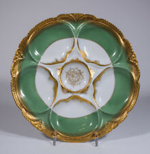 Haviland Limoges Oyster Plate - Green & Gold - Circa 1930