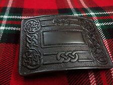 TC Men's Celtic Swirl Kilt Belt Buckle Jet Black/Highland Celtic Kilt Buckles