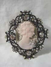 PINK Cameo Sparkling White Crystal Large PIN BROOCH Black Metal Brand NEW