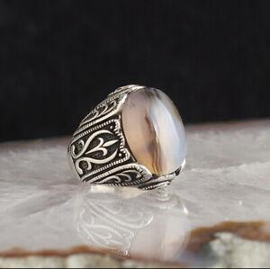 Handmade pure 925 SILVER w Yamani Aqeeq Agate stone men ring all sizes RRP £50