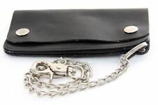Genuine Leather Biker Wallet with Chain Black Men's Wallet
