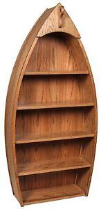 "Amish Canoe Bookcase Book Shelf Solid Oak Wood 60"" or 72"" Kids Nautical Office"