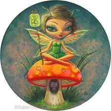 Green Pixie On Mushroom Sticker Decal Art Aaron Marshall AM18