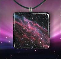 """SPACE VEIL NEBULA 1,3/8"""" GLASS PENDANT NECKLACE"""