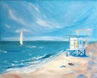 Miami Beach Abstract Painting Seascape Original Canvas Artwork Impasto 16 by 20