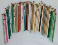 Vintage LOT of 40+ WOODEN ADVERTISING PENCILS NEW UNSHARPENED Various Ages