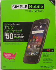 NEW Simple Mobile ZTE Majesty Pro 4G LTE Prepaid Smartphone 5MP camera bluetooth