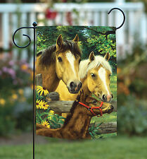 NEW Toland - Horse Family - Farm Fence Barnyard Pony Spring Flower Garden Flag