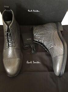 Paul Smith Jarman Leather Boots Shoes, Anthracite Grey Croc, UK 9 EU43 BNIB Rare
