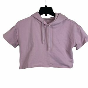 Gymshark Womens Washed Lavender Cropped Hooded Fitness Pullover Sweatshirt Sz S