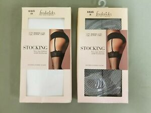 New Fredericks Of Hollywood Lace Top Fishnet With Backseam Stocking.