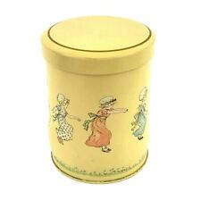 "Container England The Kate Greenaway Yellow Colonial Girls Metal Tin 4 6/8"" Tall"