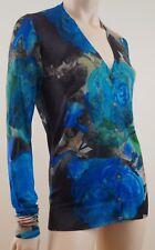 CHRISTOPHER KANE RUNWAY Blue Green Floral Print Silk / Wool Cardigan Sz:L BNWT