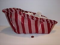 Longaberger berry Red Stripe Medium Vegetable Holiday Sleigh basket liner
