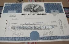 Fund of Letters, Inc. OLD CANCELED stock CERTIFICATE