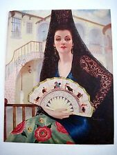 Vintage Mexican Print of Stunning Woman w/ Fan That Has Bullfighting On It *