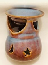 Bill Campbell Art Pottery Tealight Candle Holder Blue Brown size 2 1/4