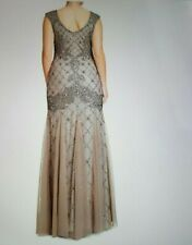 Adrianna Papell Women's Fully Beaded Gown with High Neckline RRP $320 size 14
