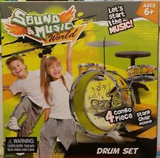 Toy Drum Set Sound and Music World Drum Set ~New Boxed~