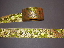 35 mm Lime Green Gold Flower Jacquard Embroidered Ribbon Lace Applique Trimming