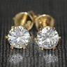 4Ct Round Cut VVS1/D Diamond Solitaire Stud Earring Solid 14K Yellow Gold Finish