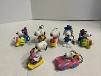 """Lot Of 7 Vintage Peanuts Snoopy Woodstock 2"""" Plastic PVC Character Keychains UFS"""