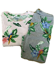 New Old Navy Girl's XL(14) Pink Tropical Floral Parrot Print Tee & Leggings Set