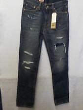 MENS 32X34 LEVI'S 511 SLIM FIT SLIM LEG DISTRESSED BLUE DENIM JEANS NEW #11520