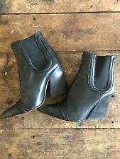 ZARA 100% LEATHER BLACK POINTED BOOTS PULL ON BOOTS HIGH BLOCK WEDGE HEEL UK 6