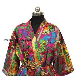 Cotton Long Kimono Frida Kahlo Printed Women's Indian Nightwear Robe Gown Dress