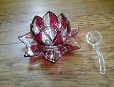 VINTAGE WESTMORELAND GLASS RED BOWL SPOON PLATE LOTUS FLOWER
