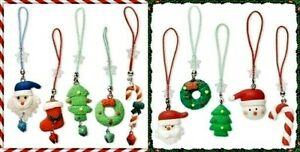 10 CELL PHONE Straps Colorful Poly Clay Christmas Holiday CHARMS Santa Stocking