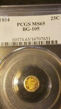 1854 G25C California Fractional Gold *  BG-105 *  Beautiful *  PCGS MS65