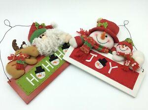 2 Charming Christmas Hanging Signs Santa and Snowman Set 44