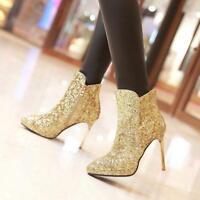 303dbb054af Shining Ladies Stiletto High Heels Ankle Boots Glitter Chic Nightclub Zip  Shoes