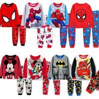 Baby Kids Boys Cotton Nightwear Batman Spiderman Sleepwear Pajamas Set 2T-8T