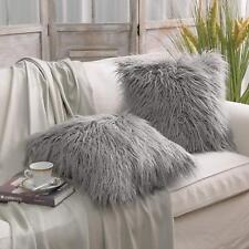 Phantoscope Cushion Cover Decorative Merino Grey Fur Throw Pillow Case Set of 2