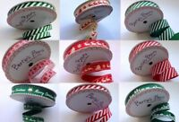 Bertie's Bows Red & Green Christmas Ribbon - on 3m or 25m Rolls