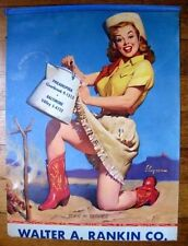 1940s Sexy Blond Cowgirl in Red Boots Pin Up Girl Picture Ad by Elvgren