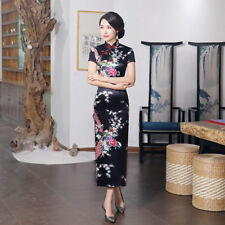Chinese Women's Dress Silk Long Cheongsam Evening Print Traditional Qipao Dress