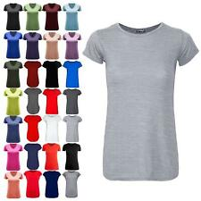 Womens Ladies Casual Jersey Plain Top Cap Sleeve Basic Stretchy Jersey T Shirt
