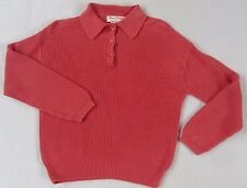 Norm Thompson Women's Ribbed Linen Blend L/S Salmon Coral Henley Sweater - Small