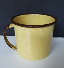 """Vintage Enamelware Cup Yellow with Brown Trim Speckled 3-1/4"""" Tall 12 Oz."""