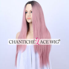Best Ombre Pink Straight Wig Heat Resistant Synthetic Hair Machine Made Wigs UK